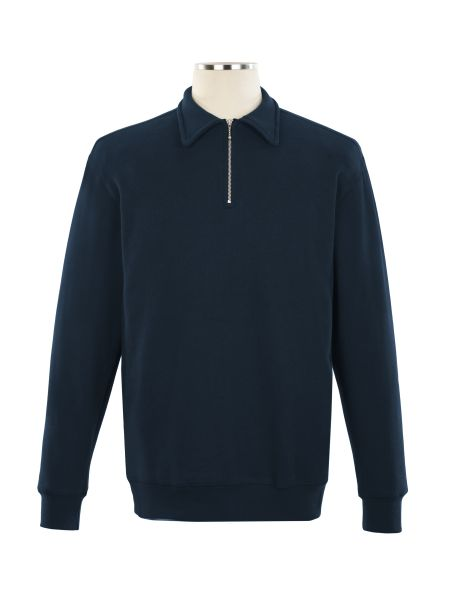 1/4 Zip Polo Embroidered Sweat Top - Unisex